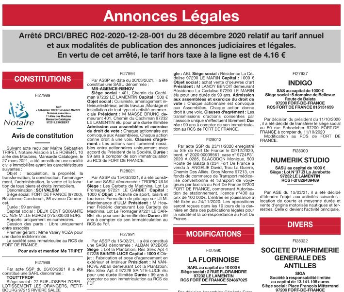 Nos annonces légales en Martinique